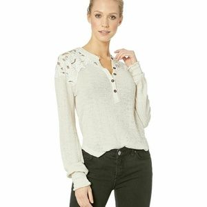 Free People Easy Breezy Henley Embroidered Top M